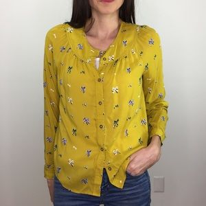 Collequial Mustard Yellow Button Up Bow Top Shirt